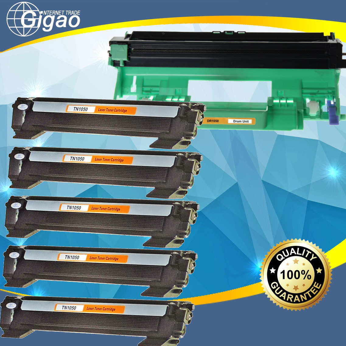 5x Toner TN-1050 + 1x Trommel / Drum DR-1050 für Brother DCP-1610W