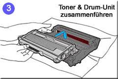 3. Montage derTonerkassette in eine Trommeleinheit/Drum