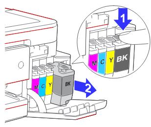 So die Druckerpatronen im Brother DCP-J1100DW gegen neue Tinten tauschen