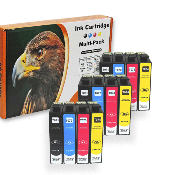 Kompatibel 12er Set Epson Gepard, T0715, T071,...
