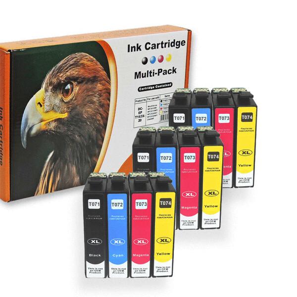 Kompatibel 12er Set Epson Gepard, T0715, T071, C13T07154010 Druckerpatronen Tinte von D&C