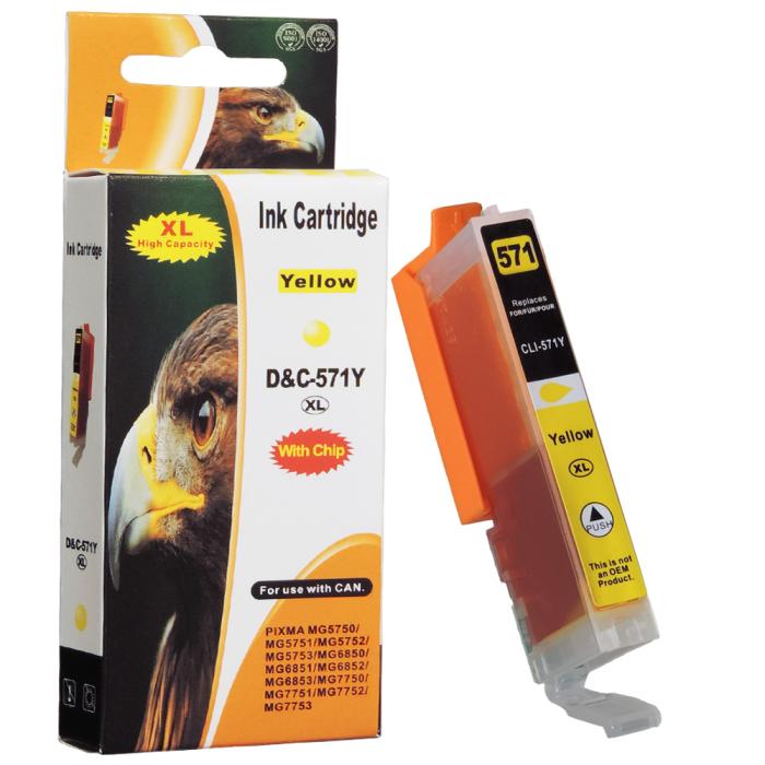 Kompatibel Canon CLI-571 XL, 0334C001 Y Yellow Gelb Druckerpatrone für 790 Seiten von D&C
