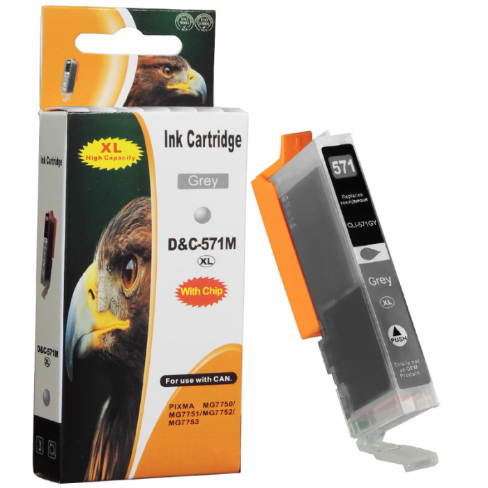 Kompatibel Canon CLI-571 XL, 0335C001 GY Grau Grey...