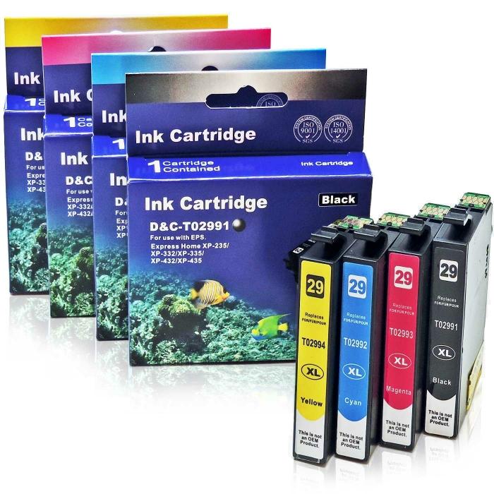 Kompatibel 4er Set Epson Erdbeere, 29XL, C13T29964010, T2996 Druckerpatronen Tinte von D&C