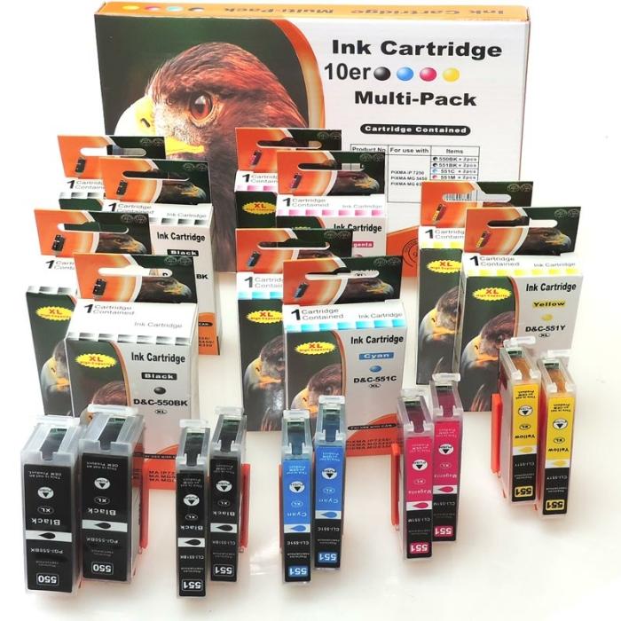 Kompatibel 10er Set Canon PGI-550 XL, CLI-551 XL Druckerpatronen Tinte alle Farben von D&C