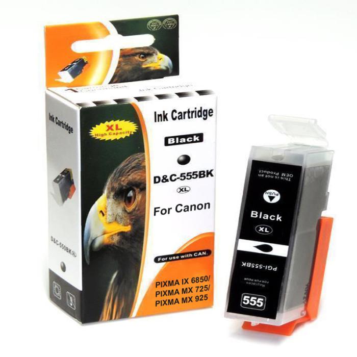Kompatibel Canon 8049B001, PGI-555 XXL PGBK Schwarz Black pigmentiert Druckerpatrone für 1.000 Seiten von D&C