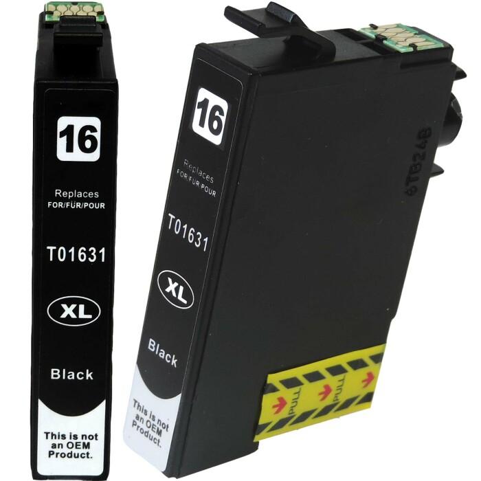 Kompatibel 2x Epson 16XL, T1631, C13T16314010, Füller BK Black Multipack schwarze Druckerpatronen je 500 Seiten von D&C