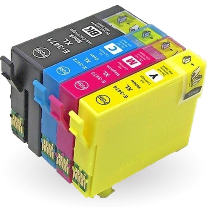 Kompatibel 4er Set Epson Golfball, T3476, 34XL, C13T34764010 Druckerpatronen Tinte von D&C