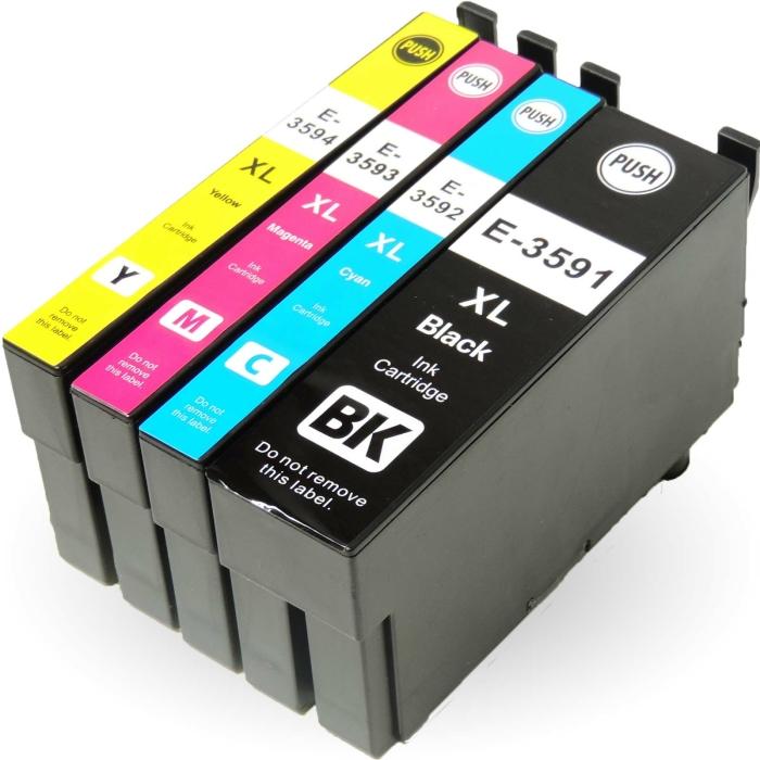 Kompatibel 4er Set Epson Vorhängeschloss, T3596, 35XL, C13T35964010 Druckerpatronen Tinte von D&C