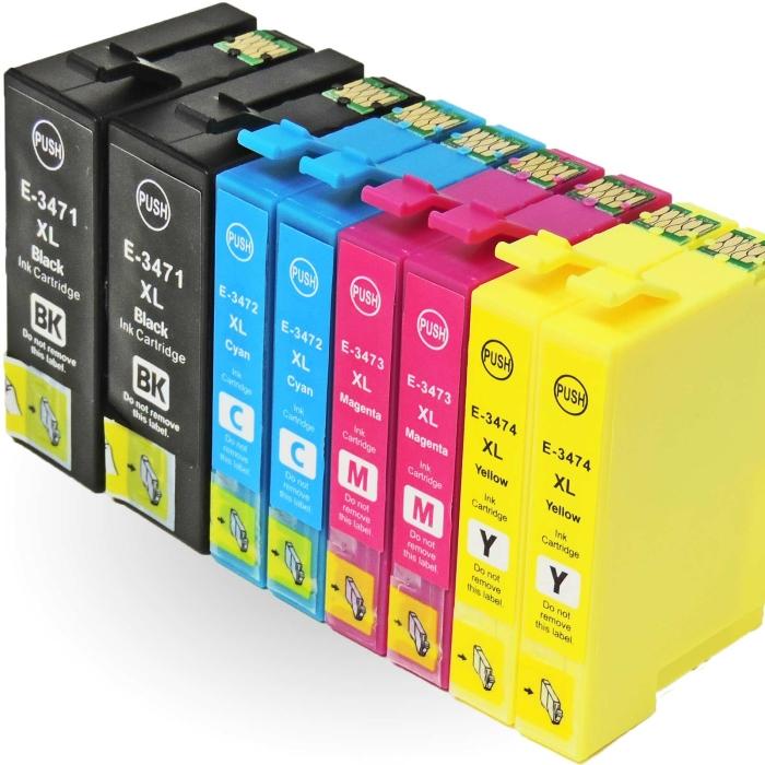 Kompatibel 8er Set Epson Golfball, T3476, 34XL, C13T34764010 Druckerpatronen Tinte von D&C