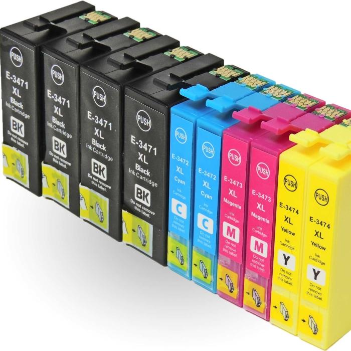 Kompatibel 10er Set Epson Golfball, T3476, 34XL, C13T34764010 Druckerpatronen Tinte alle Farben von D&C