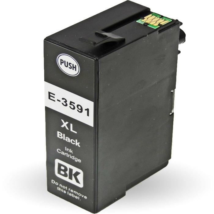 Kompatibel 2x Epson Vorhängeschloss, T3591, 35XL, C13T35914010 BK Black Multipack schwarze Druckerpatronen je 2.600 Seiten von D&C