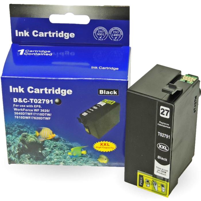 Kompatibel Epson Wecker, T2791, 27XXL, C13T27914010 BK Schwarz Black Druckerpatrone für 2.200 Seiten von D&C