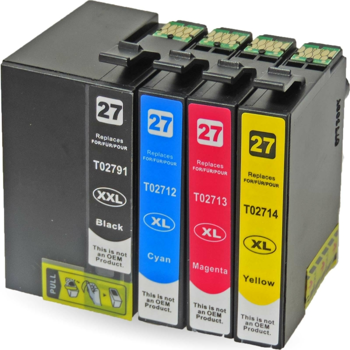 Kompatibel 4er Set Epson Wecker, T2715, 27XXL, C13T27154010 Druckerpatronen Tinte von D&C