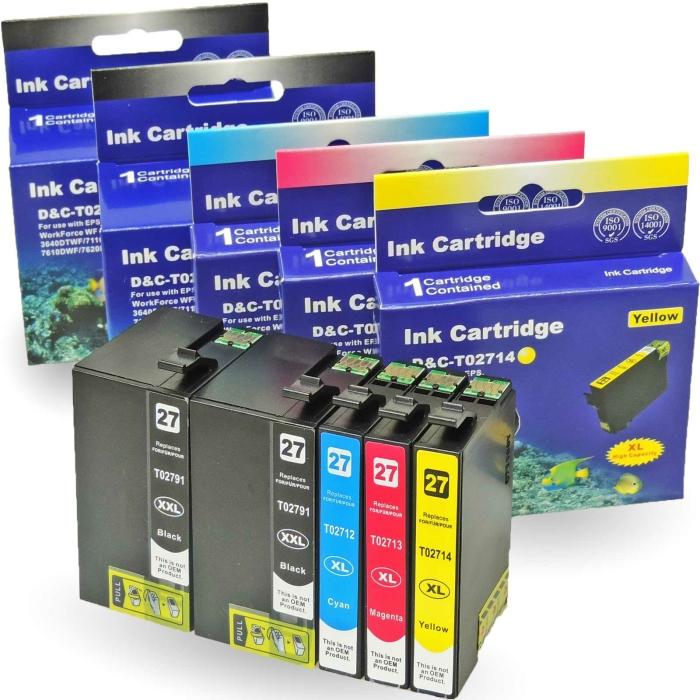 Kompatibel 5er Set Epson Wecker, T2715, 27XXL, C13T27154010 Druckerpatronen Tinte 2x Schwarz und je 1x Cyan, Magenta und Gelb von D&C