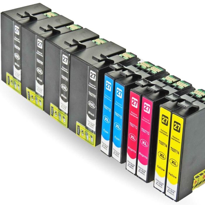Kompatibel 10er Set Epson Wecker, T2715, 27XXL, C13T27154010 Druckerpatronen Tinte alle Farben von D&C