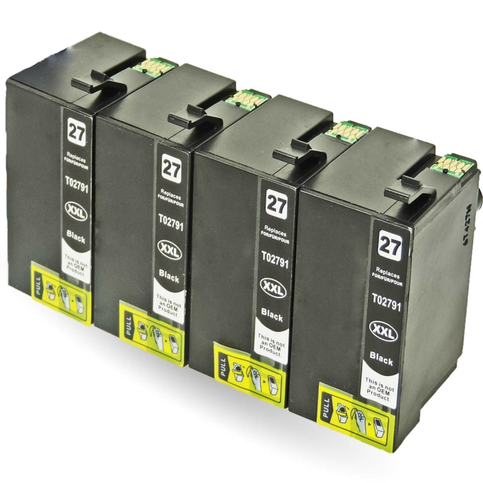 Kompatibel 4x Epson Wecker, T2791, 27XXL, C13T27914010 BK...