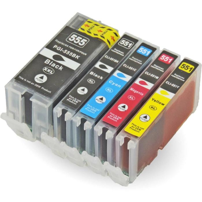 Kompatibel 5er Set Canon CLI-551 XL, PGI-555 XXL...