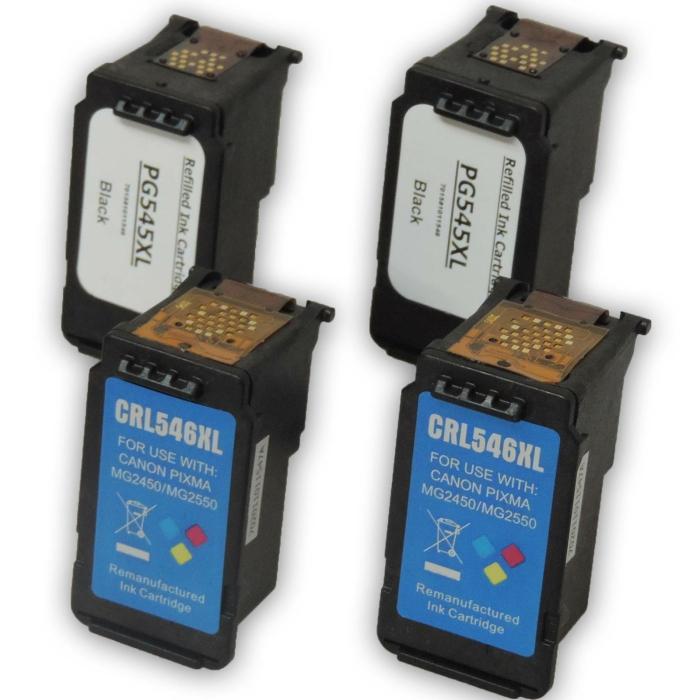 Wiederbefüllt 4er Set Canon PG-545XL BK + CL-546XL C Druckerpatronen wiederbefüllt 2x Black + 2x alle Farben von Gigao