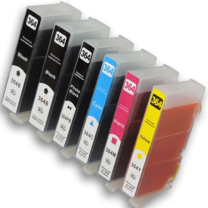 Kompatibel 6 Patronen HP-364 XL Multipack 364XL Tintenset...