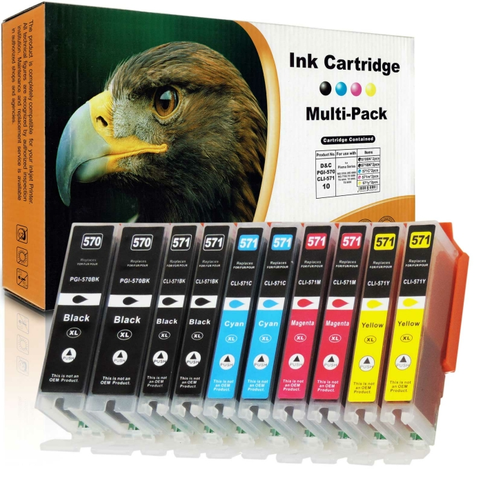 Kompatibel 10er Set Canon CLI-571 XL, PGI-570 XL...