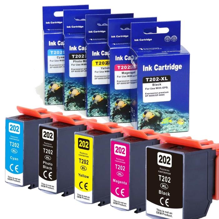 Kompatibel 5er Set Epson Kiwi, T02G7, 202XL, C13T02G74010 Druckerpatronen Tinte von D&C