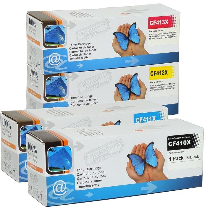 Kompatibel HP 410A/410X  CF410X, CF411X, CF413X, CF412X Sparset 4 Toner alle Farben von D&C