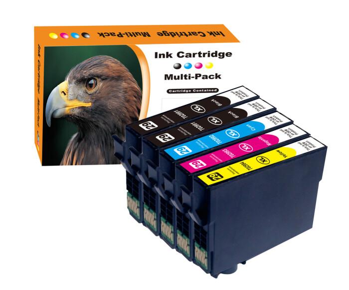 Kompatibel 5er Set Epson Erdbeere, 29XL Druckerpatronen Tinte 2x Schwarz und je 1x Cyan, Magenta und Gelb von D&C