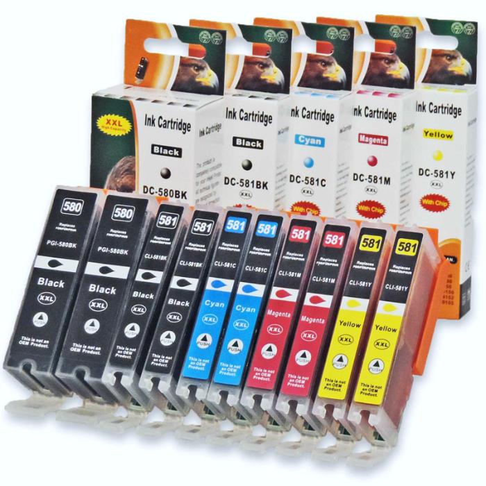 Kompatibel 10er Set Canon CLI-581 XXL, PGI-580 XXL...