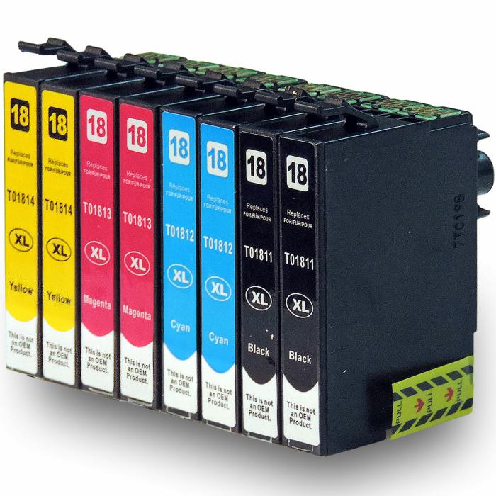 Kompatibel 8er Set Epson Gänseblümchen, T1816, 18XL, C13T18164010 Druckerpatronen Tinte von D&C
