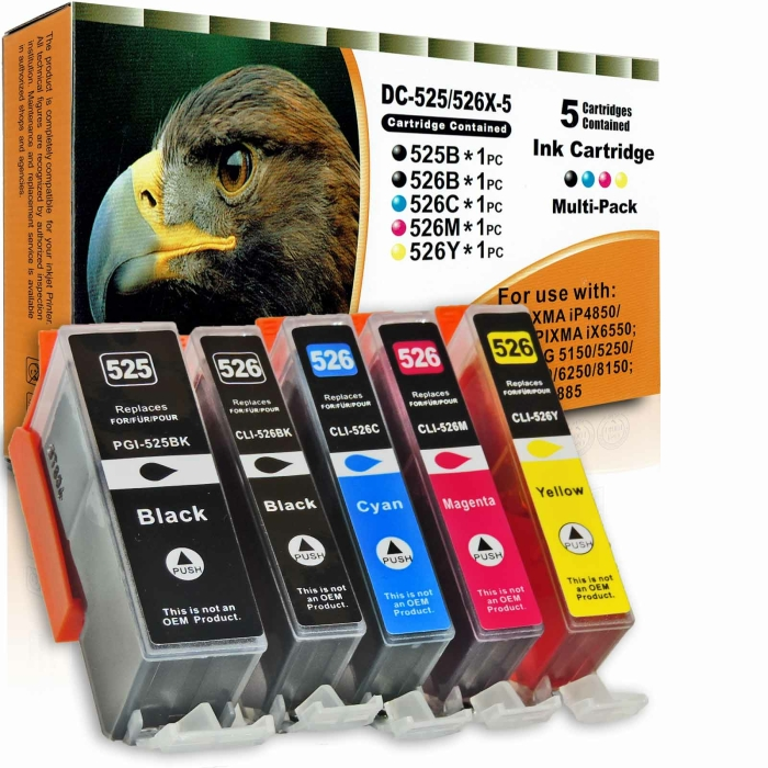 Kompatibel 5er Set Canon PGI-525, CLI-526 Druckerpatronen...