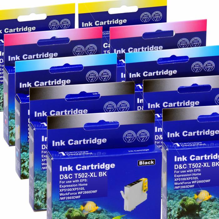 Kompatibel 10er Set Epson Fernglas, T02W6, 502XL, C13T02W64010 Druckerpatronen Tinte alle Farben von D&C