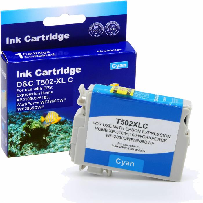 Kompatibel Epson Fernglas, T02W2, 502XL, C13T02W24010 C Cyan Blau Druckerpatrone für 470 Seiten von D&C