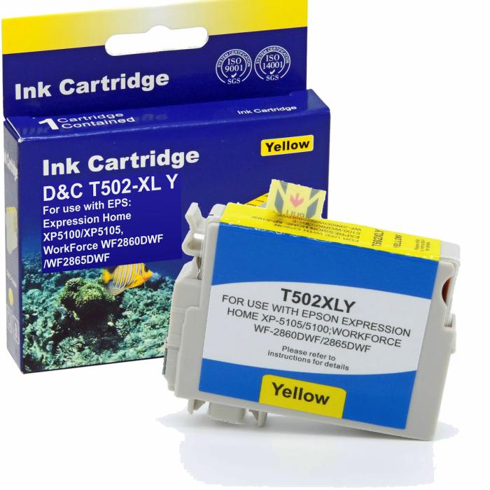 Kompatibel Epson Fernglas, T02W4, 502XL, C13T02W44010 Y Yellow Gelb Druckerpatrone für 470 Seiten von D&C