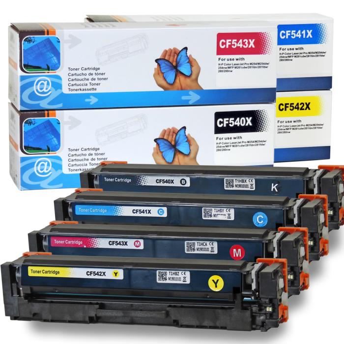 Kompatibel HP CF540X, CF541X, CF543X, CF542X Sparset 4 Toner alle Farben von D&C