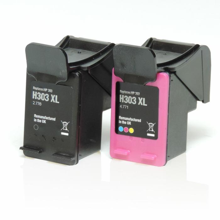 Wiederbefüllt 2er Set HP 303XL BK T6N04AE + 303XL C T6N03AE Druckerpatronen wiederbefüllt Schwarz + alle Farben von Gigao