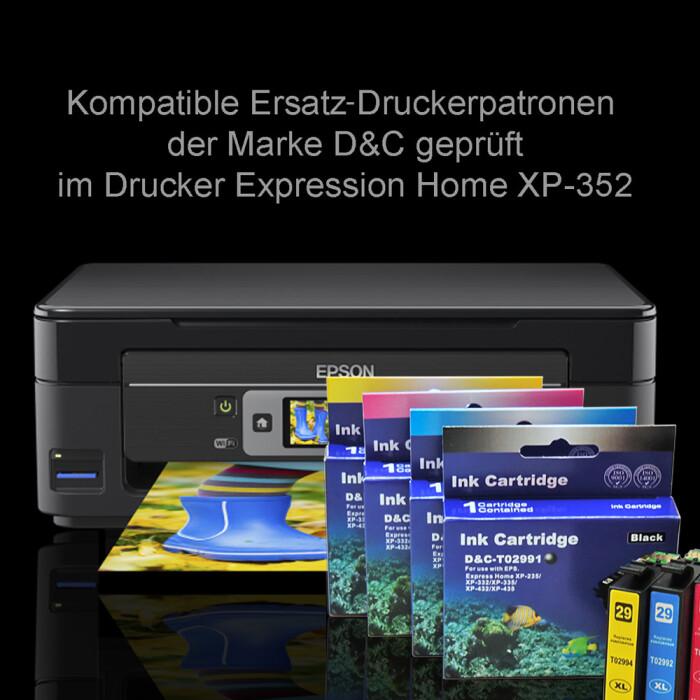 Kompatibel 10 Tinten für Epson XP-352 Drucker kompatibel Epson 29XL Set alle Tinten Farben