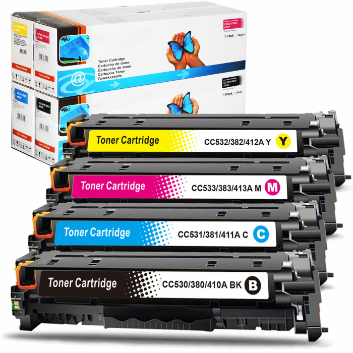 Kompatibel 4er Tonerset für HP Color LaserJet CP2024N (304A) Tonerkassetten für HP Color LaserJet CP 2024 N Drucker