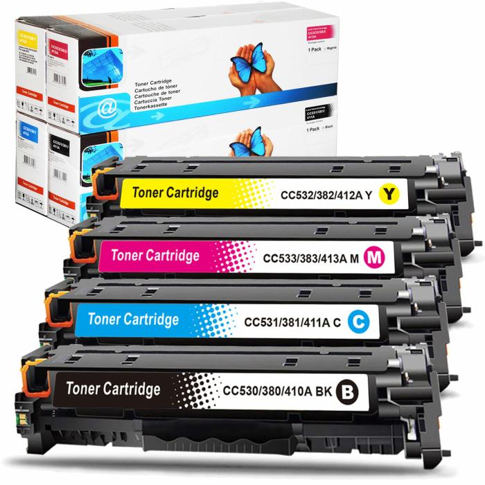 Kompatibel 4er Tonerset für HP Color LaserJet CP2025 Series (304A) Tonerkassetten für HP Color LaserJet CP 2025 Series Drucker
