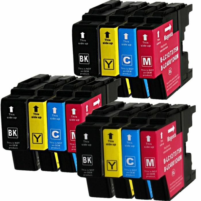 Kompatibel Brother LC-1240 XL Set 12 Druckerpatronen alle Farben von D&C