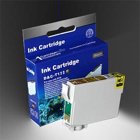 Kompatibel Epson Fuchs, T1281, T128, C13T12814010 BK Schwarz Black Druckerpatrone für 170 Seiten von D&C