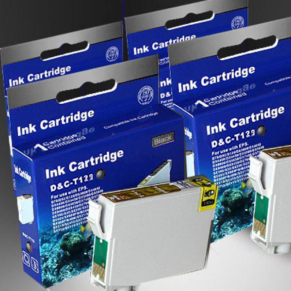 Kompatibel 4x Epson T1291, Apfel, T129, C13T12914010 BK...