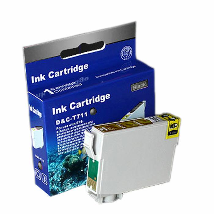 Kompatibel Epson Gepard, T0711, T071, C13T07114010 BK Schwarz Black Druckerpatrone für 245 Seiten von D&C