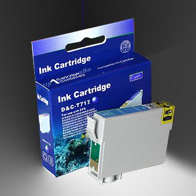 Kompatibel Epson Gepard, T0712, T071, C13T07124010 C Cyan Blau Druckerpatrone für 345 Seiten von D&C