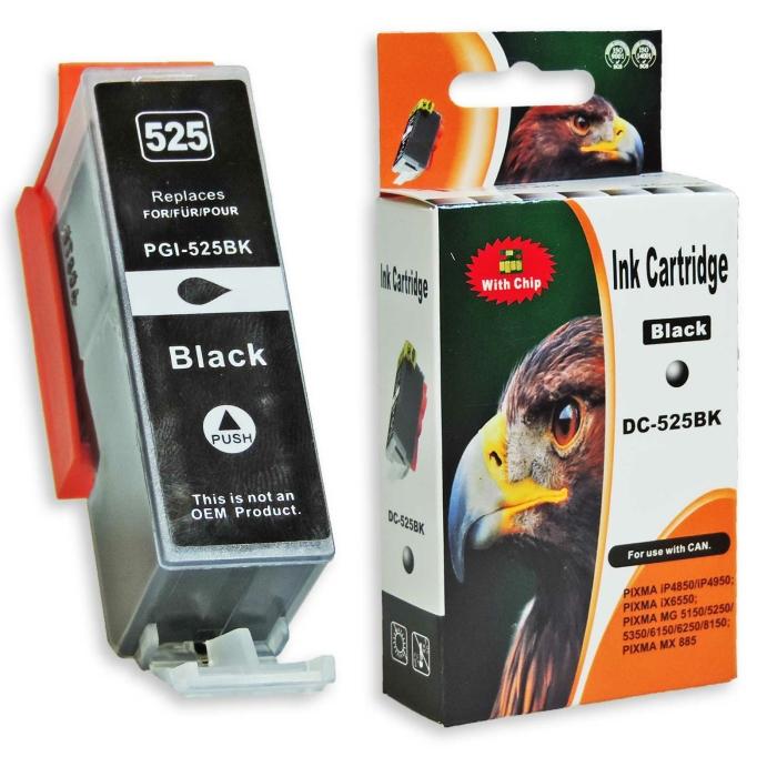 Kompatibel Canon PGI-525, 4529B001 PGBK Schwarz Black pigmentiert Druckerpatrone für 550 Seiten von D&C