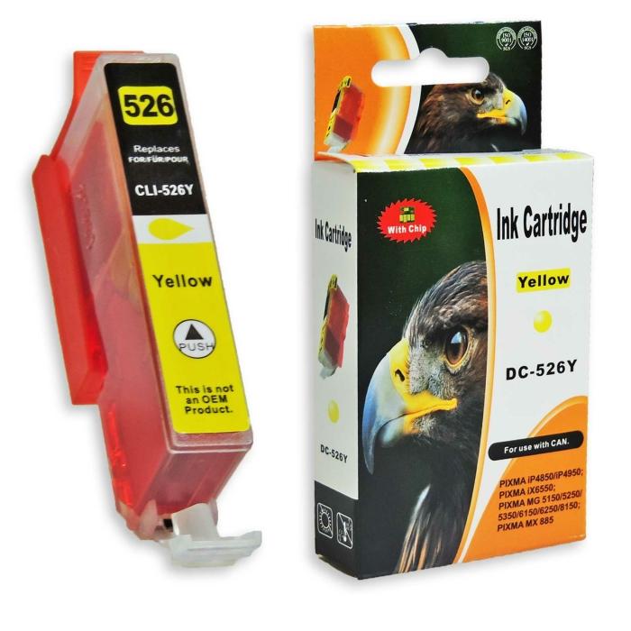 Kompatibel Canon CLI-526, 4543B001 Y Yellow Gelb Druckerpatrone für 650 Seiten von D&C