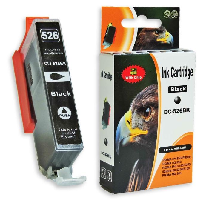 Kompatibel Canon CLI-526, 4540B001 BK Schwarz Black Druckerpatrone für 665 Seiten von D&C