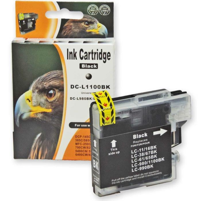 Kompatibel Brother LC-980, LC-1100 BK Schwarz Black...