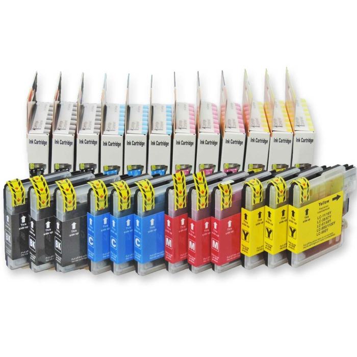 12 Druckerpatronen kompatibel Brother LC-980, LC-1100 Set...