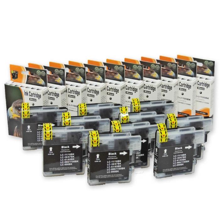 Kompatibel Brother LC-980, LC-1100 BK Black Multipack 10...